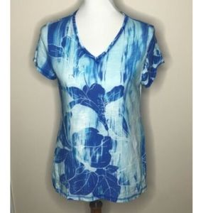 Chico's Weekends Blue Floral Top